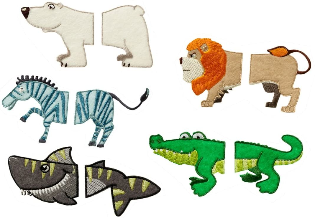 Mono-Quick Animals Embroidered Applique Iron On Sew On Back Patch Polyester, Multicoloured, 6.1 x 5.3 x 0.1 cm, 10 Units