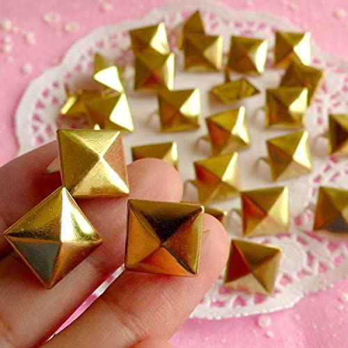 100pcs 13mm Gold Pyramid Studs Spots Punk Rock Biker Nailheads Spot Shoes S313