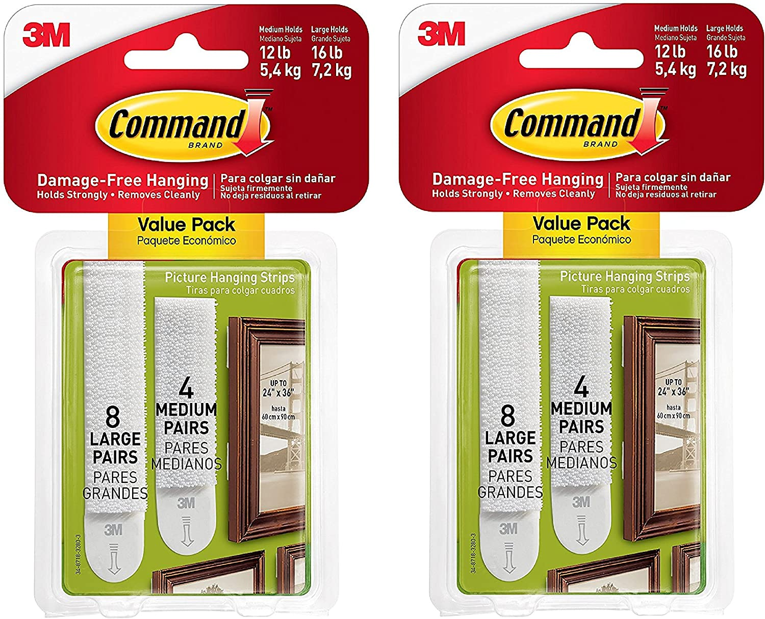 Command Picture Hanging Strips Variety Value Pack, 4-Medium and 8-Large Strips, 2-Pack