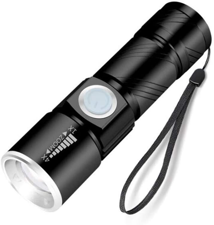 FairOnly LED Mini Outdoor Strong Lighting Lithium Battery USB Rechargeable Flashlight 4X Zoom Adjustable Flashlight Black