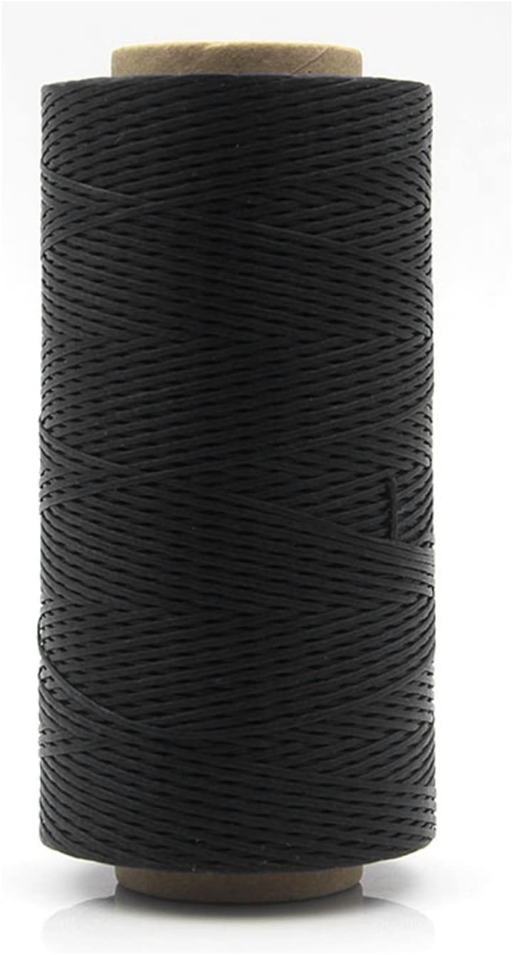 1 Roll 150D Style DIY Leather Polyester Craft Sewing Thread Quilting Stitching Waxed Spool hilos de coser for Shoes Clothes Kangkang (black)