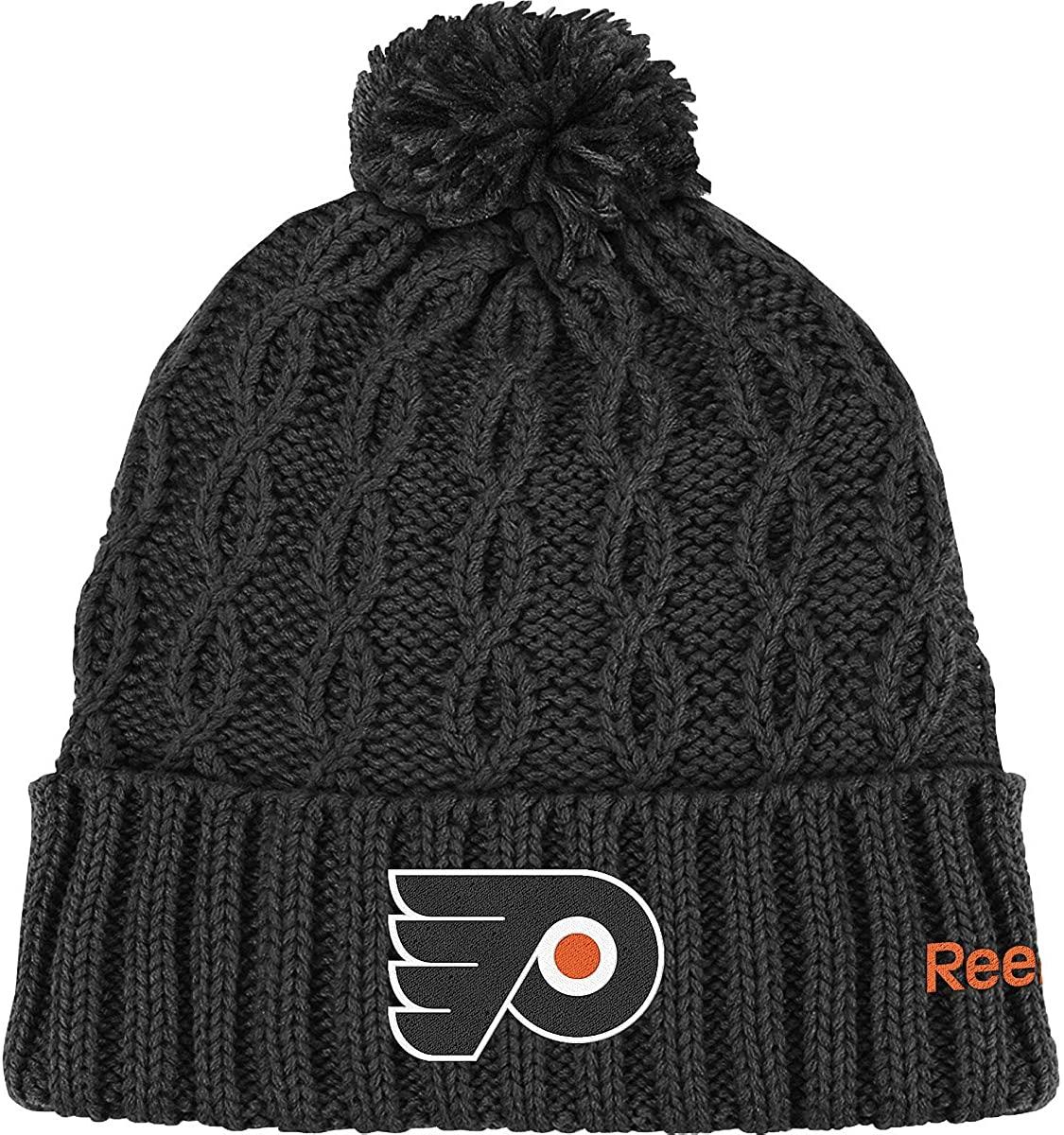 Reebok Womens Philadelphia Flyers Cuffed Pom Knit Beanie