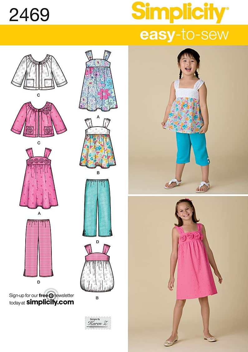 Simplicity Easy-to-Sew Karen Z Pattern 2469 Girls Dress or Top, Capri Pants and Jacket Sizes 3-4-5-6