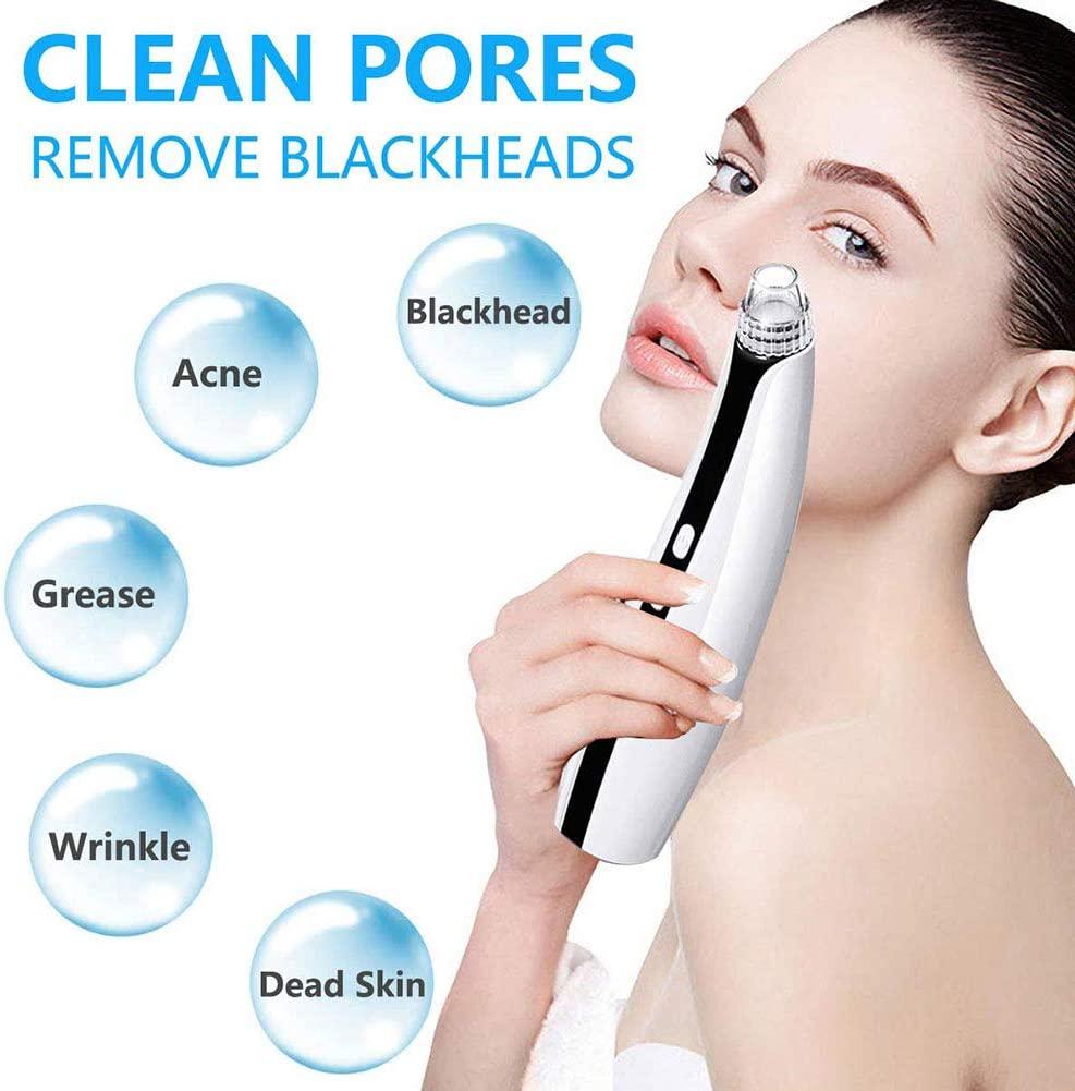 LINR Blackhead Remover Pore Vacuum Blackhead Acne, Facial Vacuum Pore Cleaner, Electronic Blackhead Vacuum Cleaner, Including 5 Heads, 5 Silicone Rings