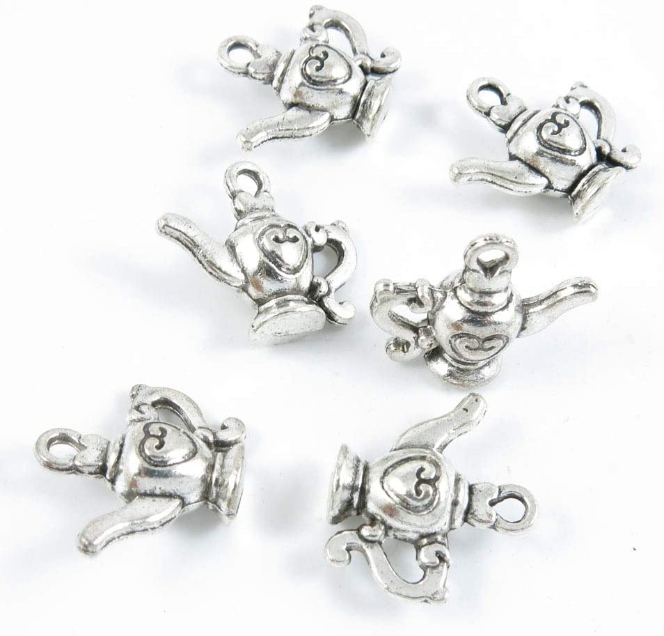 40 Pieces Antique Silver Tone Jewelry Making Charms Crafting Beading Craft Y5EQ8 Wine Pot Teapot Tea Kettle