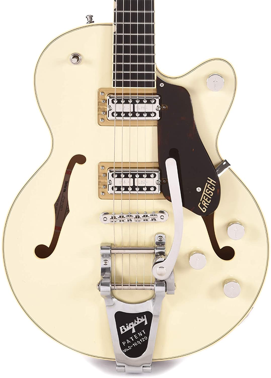 Gretsch G6659T Players Edition Broadkaster Jr. Center Block Single-Cut Two-Tone Lotus Ivory/Walnut Stain w/Bigsby & Hardshell Case