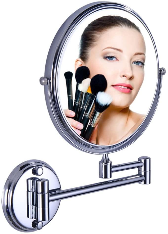 Extendablewallmirror,Cosmetic mirror Bathroom vanity mirror Magnification mirror Wall-mounted telescopic folding mirror-A