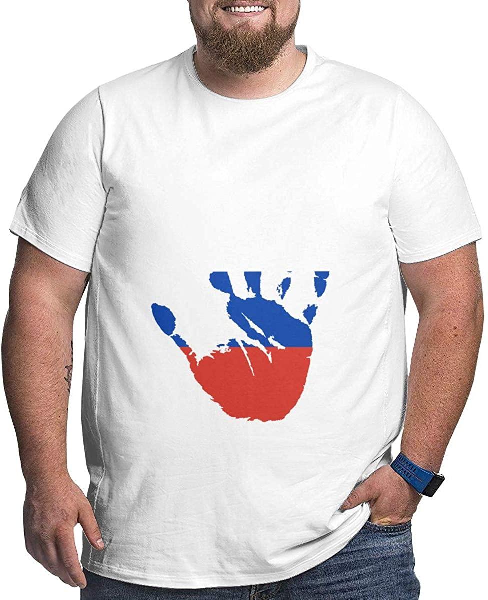 Russia Flag Palm Print Men's Cotton Short Sleeve Large Size Fashion T-Shirt