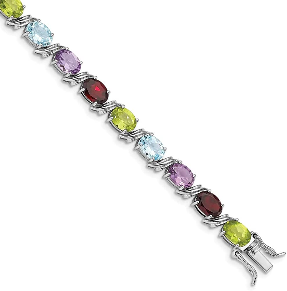 Solid 925 Sterling Silver Oval Multi-gemstone Bracelet 7.5
