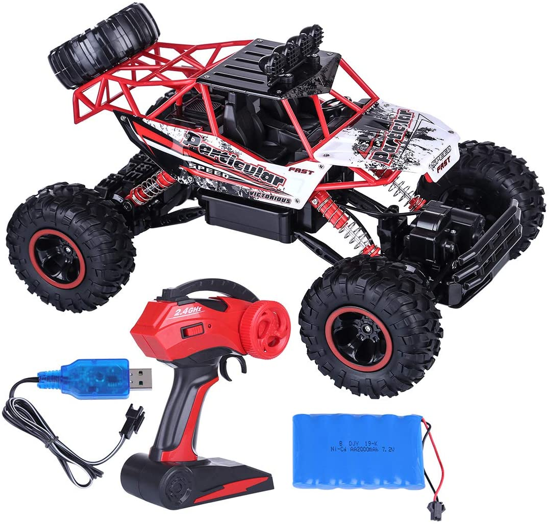 HMANE 1/12 2.4G 4WD Extra Large RC Off-Road Truck Remote Control Climbing Car Mountain Drift Car Dual Motor Monster Trucks Vehicle Model Toys for Kids Boys - (Red)