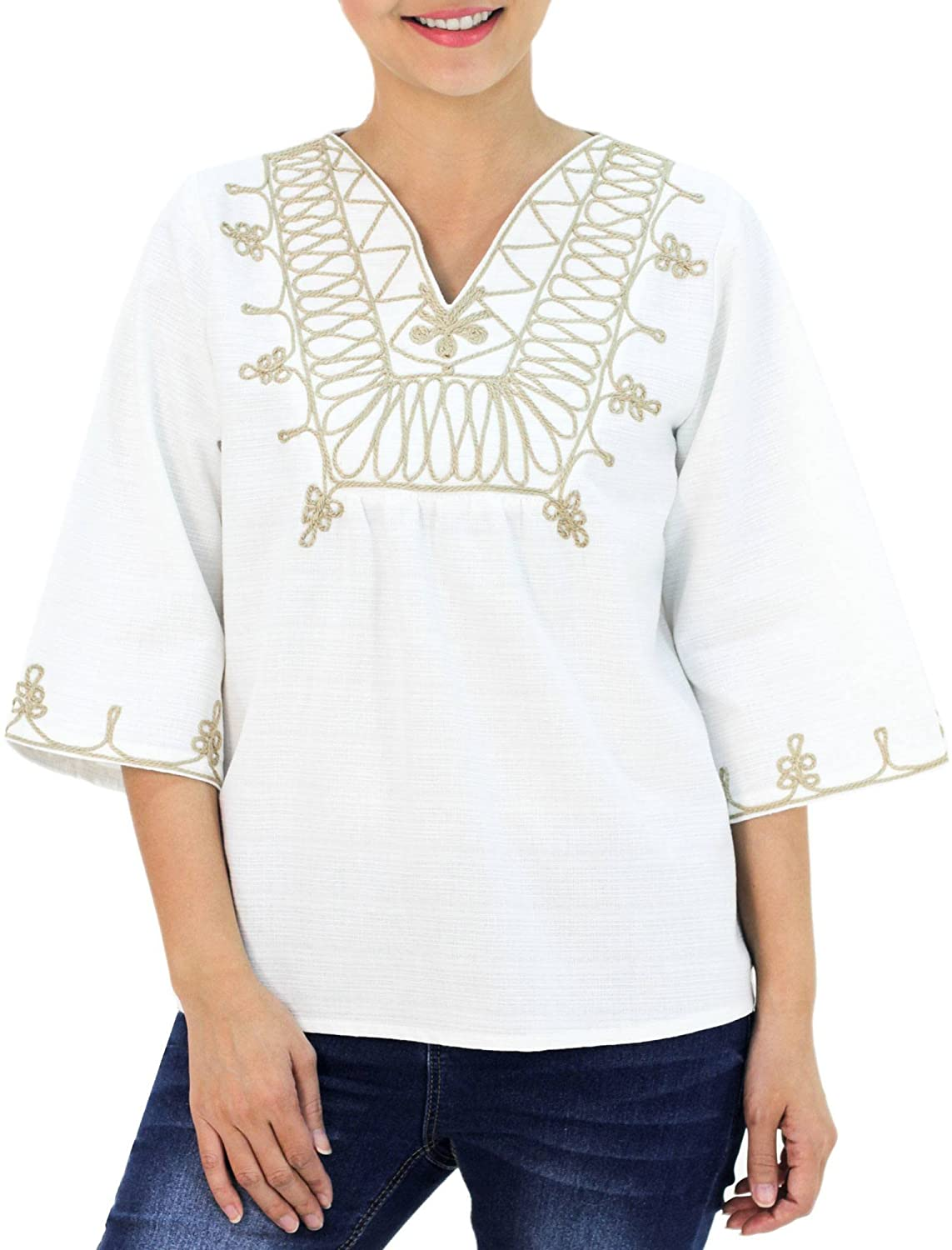 NOVICA White Cotton Blouse, Dance'