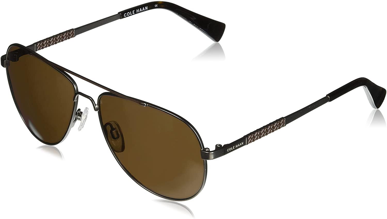 Cole Haan Men's Ch6036 Metal Aviator Sunglasses, 57 mm
