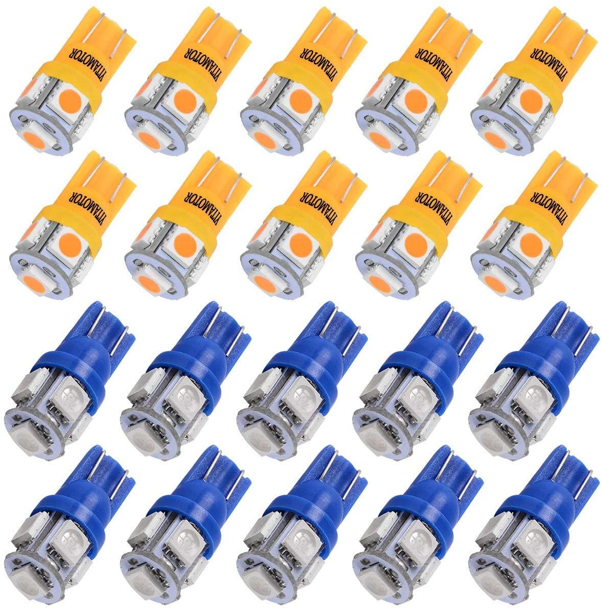 YITAMOTOR 10pcs Amber and 10pcs Blue T10 194 168 LED Bulbs for License Plate Lights, Dome Lights, Map Lights, 158 175 194NA 2825 161 LED Light Bulb, 12V DC