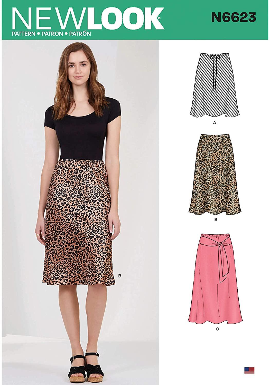 New Look Sewing Pattern N6623 Misses' Skirt in Three Lengths, Paper, White, Various