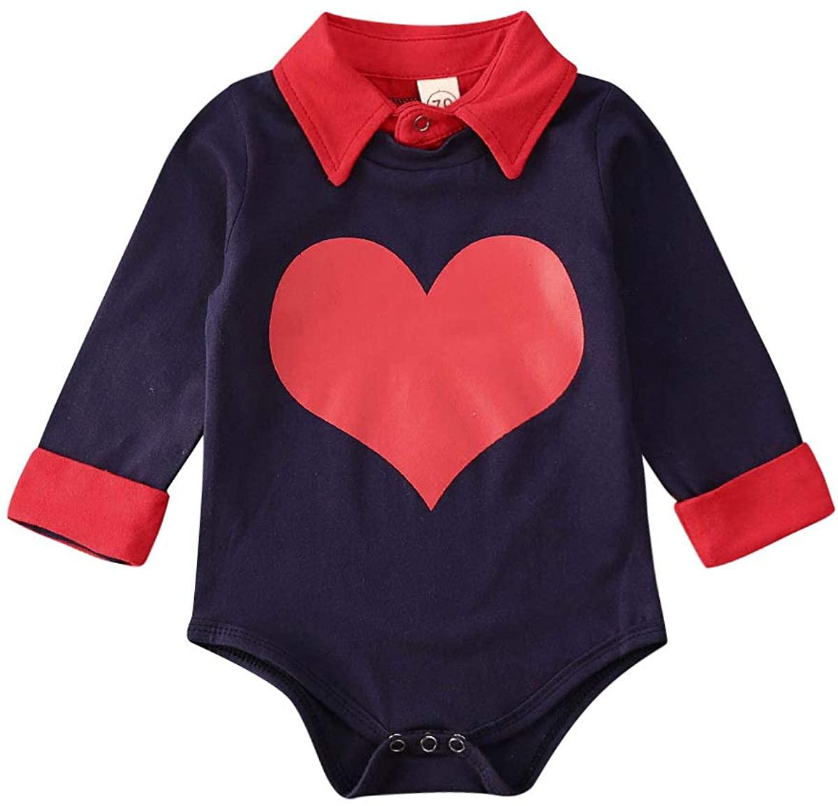 Infant Baby Boys Valentines Day Cotton Bodysuit Romper Gentleman Baby Boy Jumpsuit Tops
