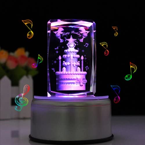 LIWUYOU Personalized Custom Name Crystal 3D Birthday Cake Colorful LED Light Rotating Musical Box,Music base, Large Cake