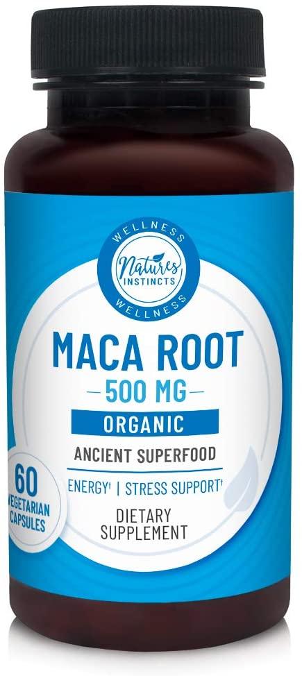Nature's Instincts Organic Maca 500mg for Energy & Stress Support | Vegetarian | 60 Vegetarian Capsules