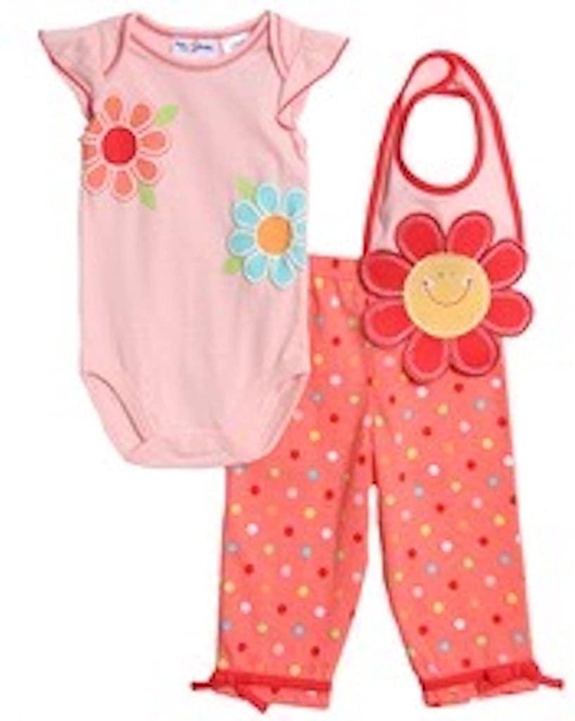 3 piece baby onesie set polka dot pants and matching bib size 6/9 months