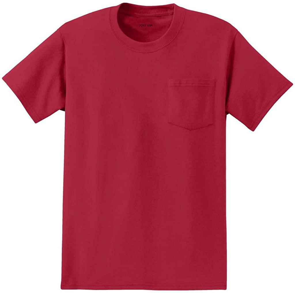 Mens Tall Pocket Tee's Heavyweight Pocket T-Shirt-2XLT Red