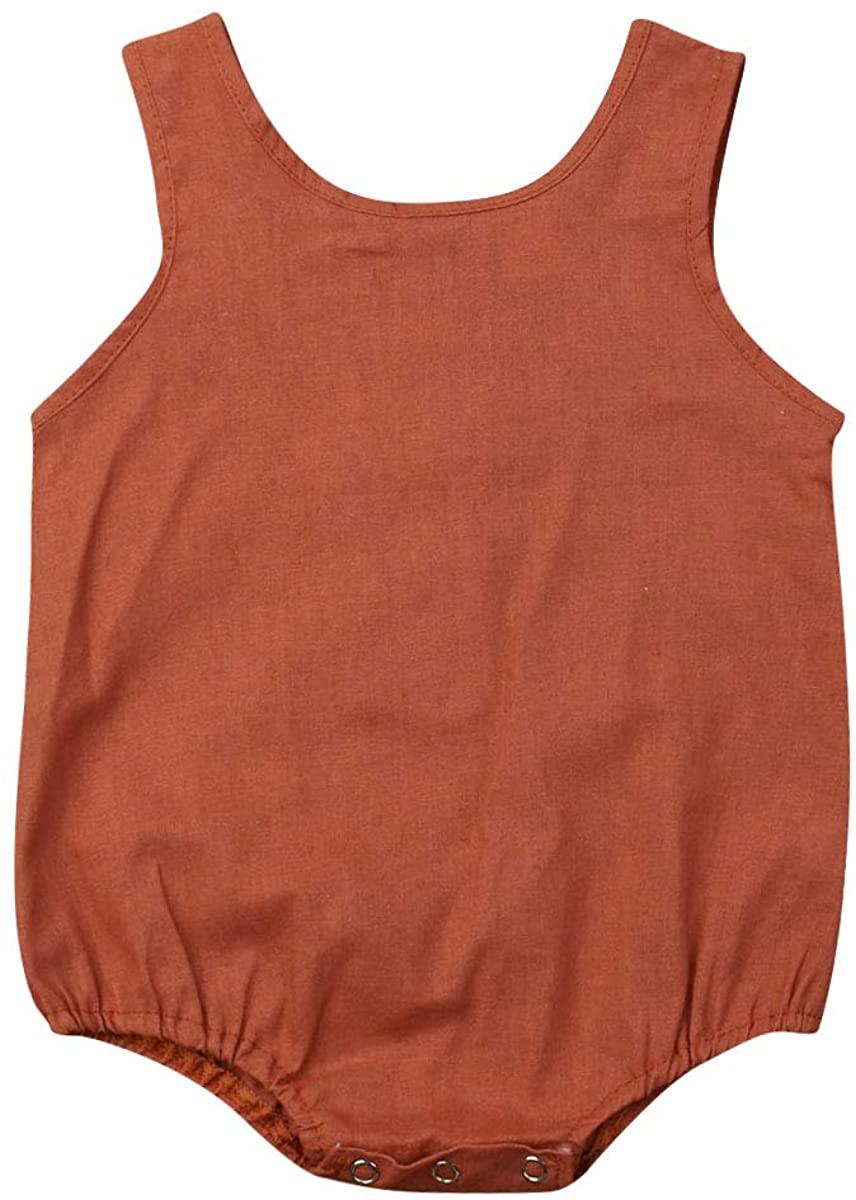 Chloefairy Baby Cotton Bodysuit Vest Onesies Infant Newborn Sleeveless Garment for Boys Girls 0-18M T-31983