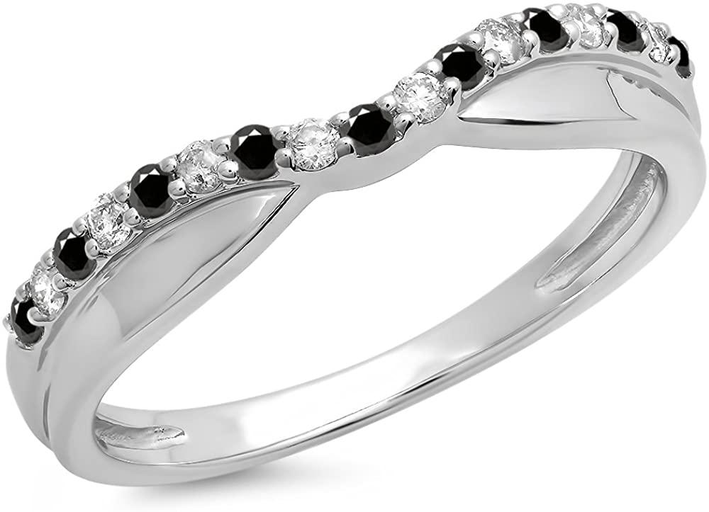 0.25 Carat (ctw) 14K Gold Round Black & White Diamond Wedding Stackable Contour Band 1/4 CT