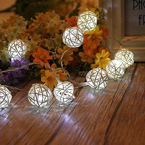 Anixl USB Rattan Ball LED String Light Warm White Fairy
