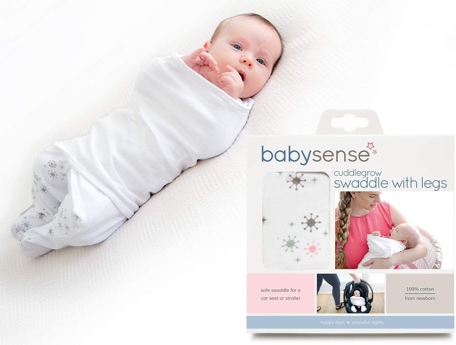 Cuddlegrow Swaddle Blanket/Award-Winning Baby Wrap with Legs | Home, Car, Travel, Stroller | Stretchy & Safe Breathable Cotton for Sleep,Temperature, Feeding, Calming (Pink)