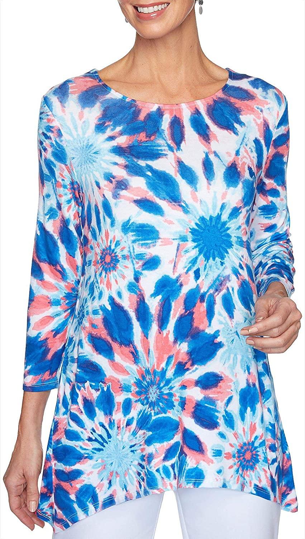Ruby Road Favorites Petite Tie Dye Print Jewel Neck Top Medium Petite Capri Blue Multi