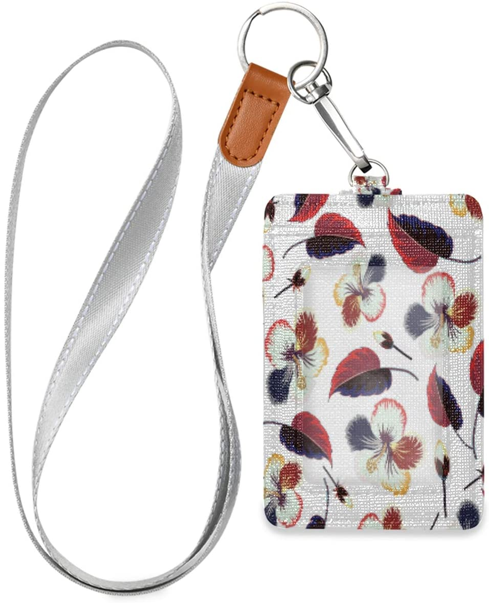 Vertical Id Badge Holders Leather with Lanyard for Women, Men, Credit Card Holder, Work Id, School Id, Office Id, Driver Licence, Metro Card, Access Card Spectacular Flowers and Leaves