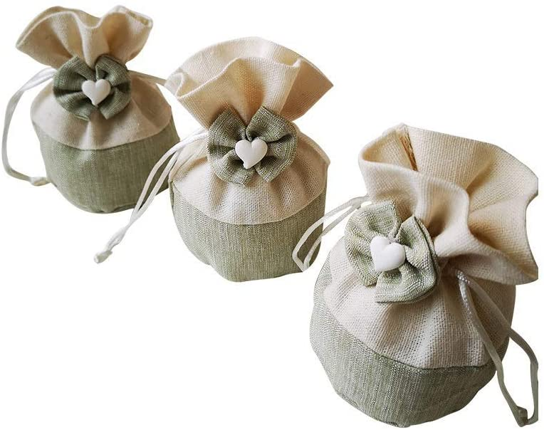 Gift Bag, 50 Pieces - Green Polyester Hand Bowknot Receiving Bag, Drawstring Candy/Jewelry Bag, Banquet/Wedding Bag, 6.511.511CM Exquisite