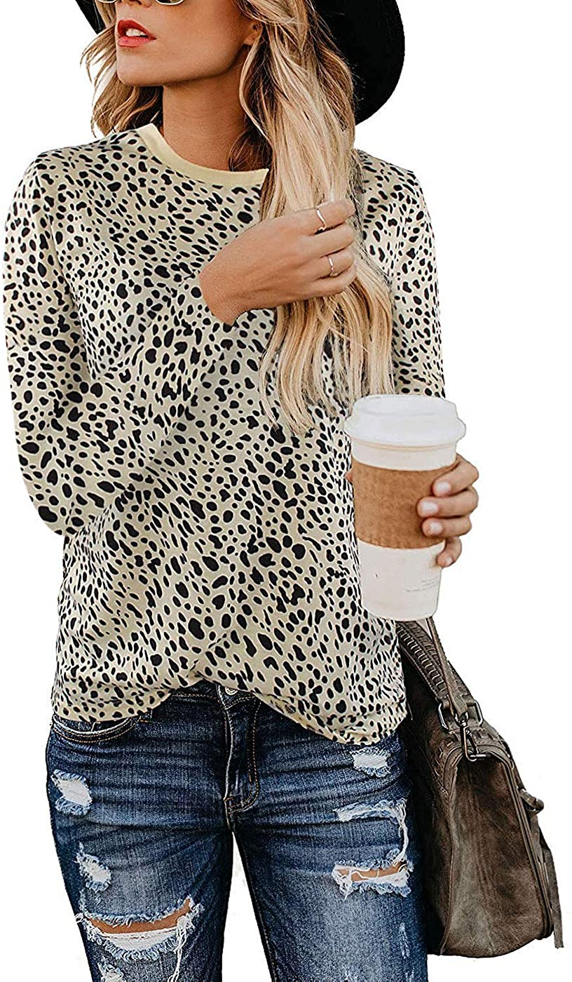Women's Leopard Print Tops Long Sleeve Crew Neck Casual T Shirts Tees Blouse