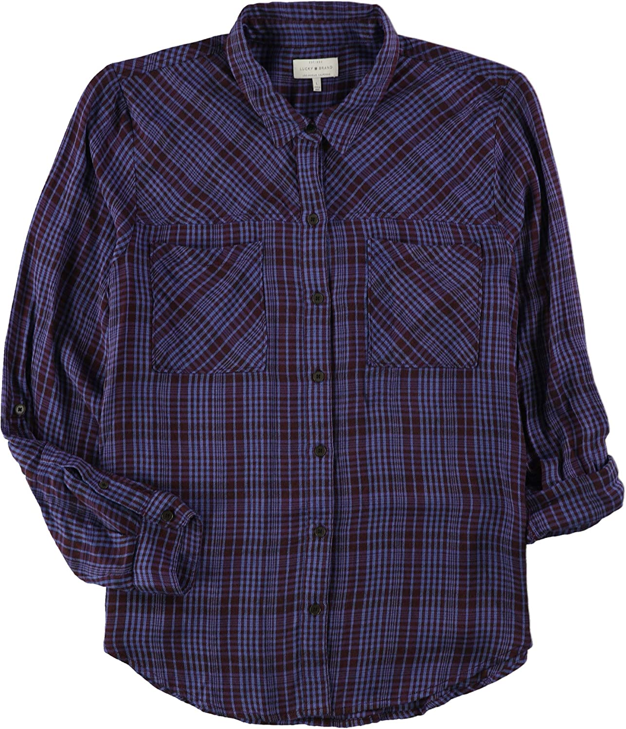 Lucky Brand Women's Plaid Shirt in Blue Multi