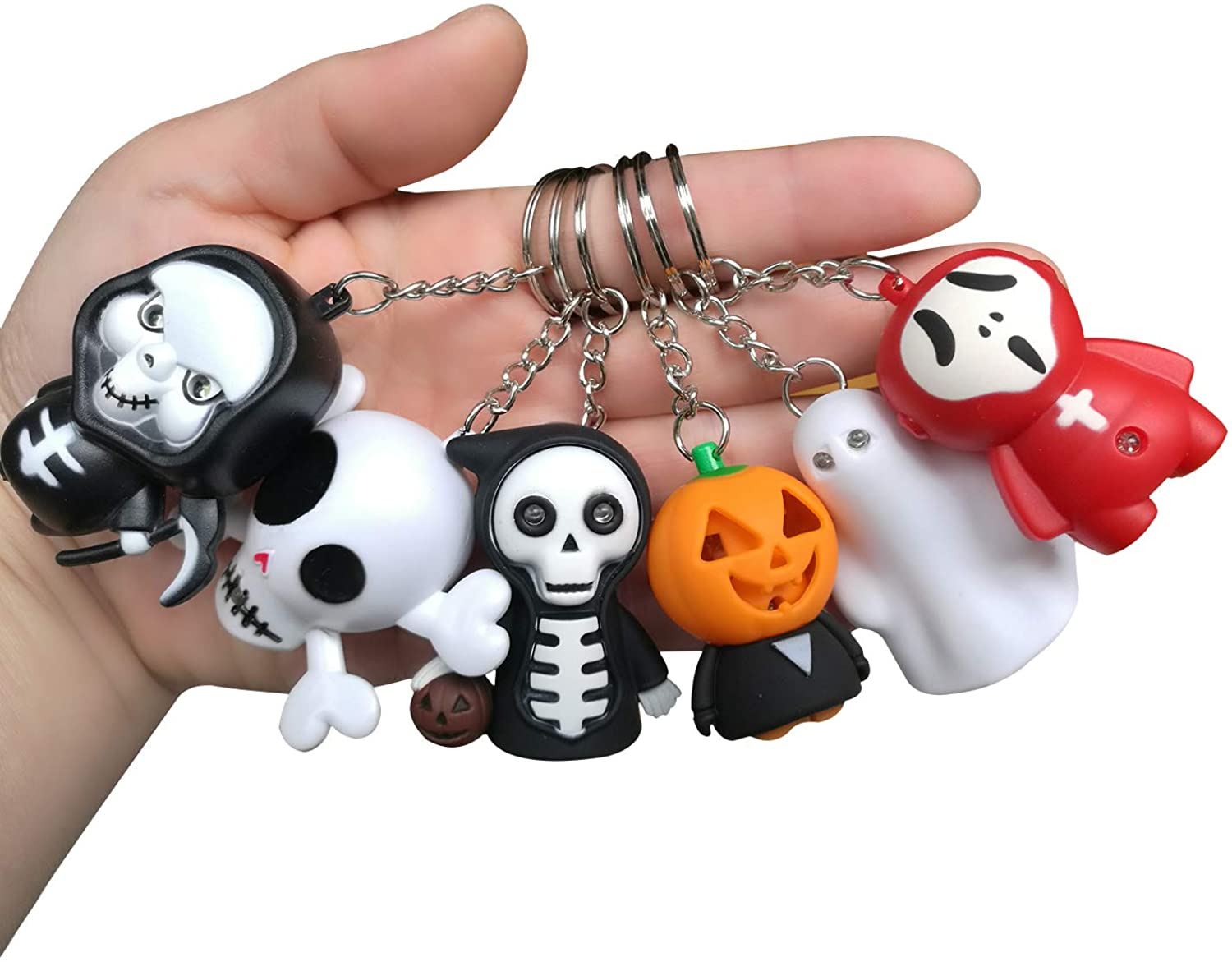 Goldengulf 6pcs/Pack Led Keychain Light with Scary Sound for Halloween Decoration Gift Cute Toy for Kids Key Ring Car Key Holder