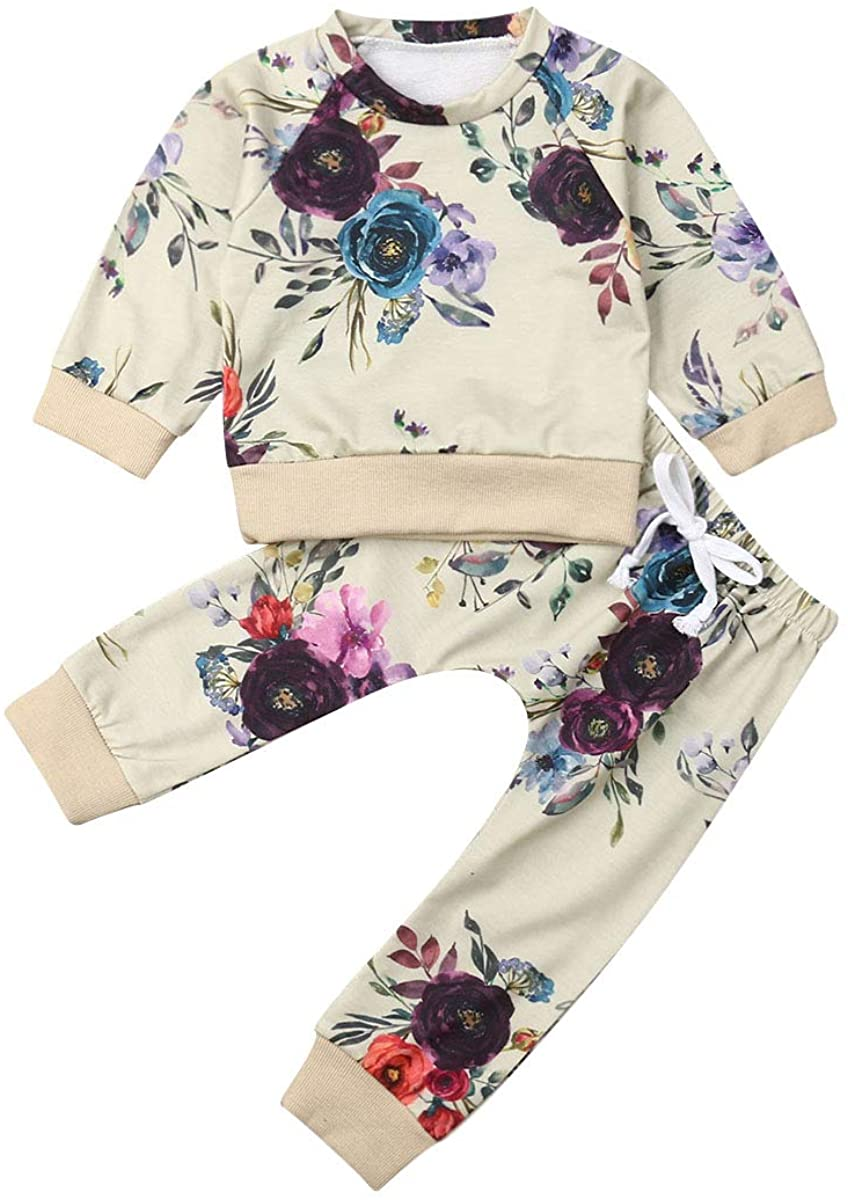 Toddler Baby Girls Winter Outfit Floral top t Shirt Sweatshirt Pants Sweatsuit 2Pcs Clothes Set (6M-3Y)