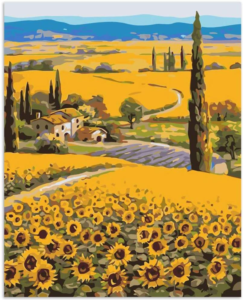 Paint by Numbers Flowers for Kids DIY Acrylic Painting Kit for Kids & Adults 16¡± x 20¡±Paint by Numbers Flowers Canvas with 3 Brushes & Bright Colors Paint Sunflower-Sunflower Field(Without Frame)