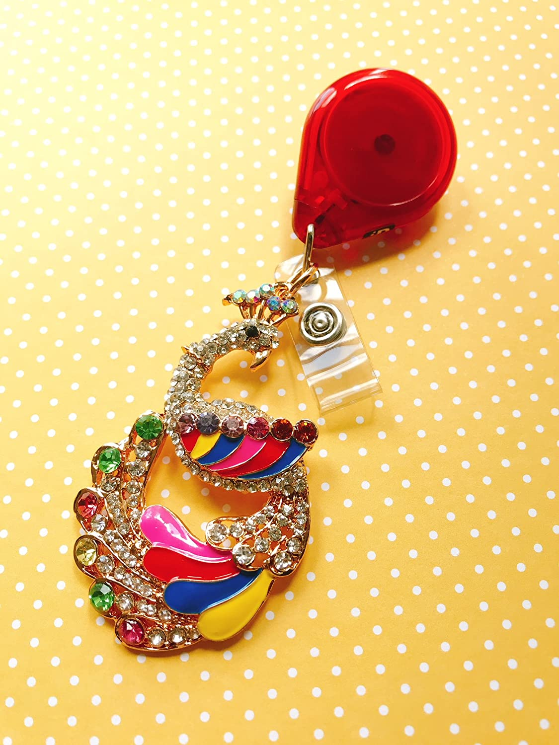 Bling Rhinestone Rainbow Peacock Pride Multicolor Decorated Badge Reel ID Holder with Clip Backing