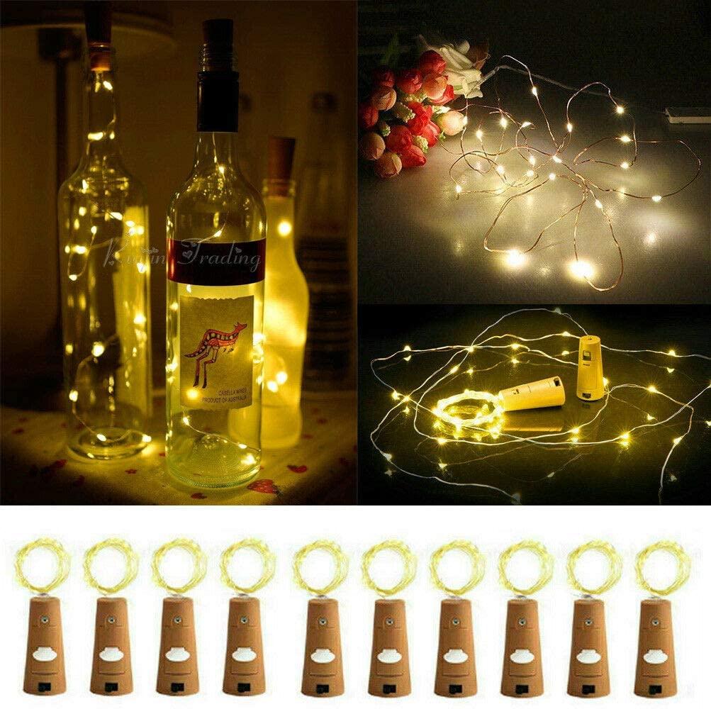 10pcs Wine Bottle Fairy String Lights 20 LED Battery Cork for Party Xmas Wedding - Warm White