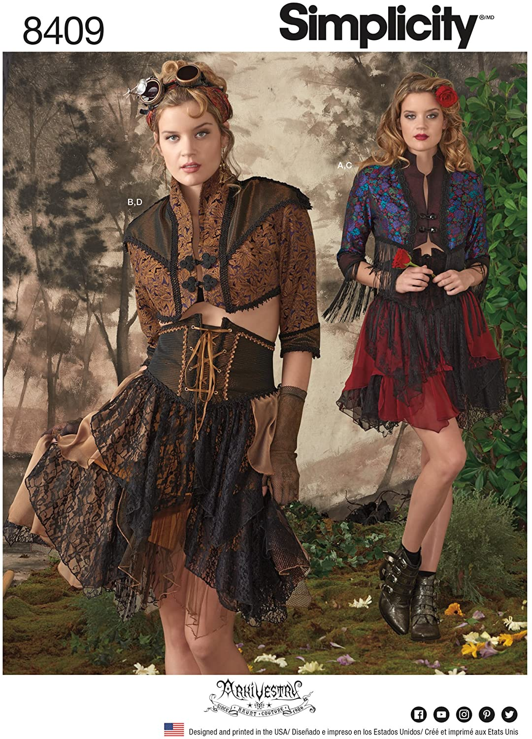 Simplicity 8409 Women's Western Steampunk Costume Cosplay Sewing Pattern, Sizes 14-22