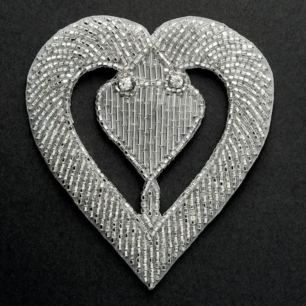 Heart Rhinestone Beaded Applique Patch, Bridal Applique, 1pc, 3-3/8''W x 3-5/8''H, FF-M2218