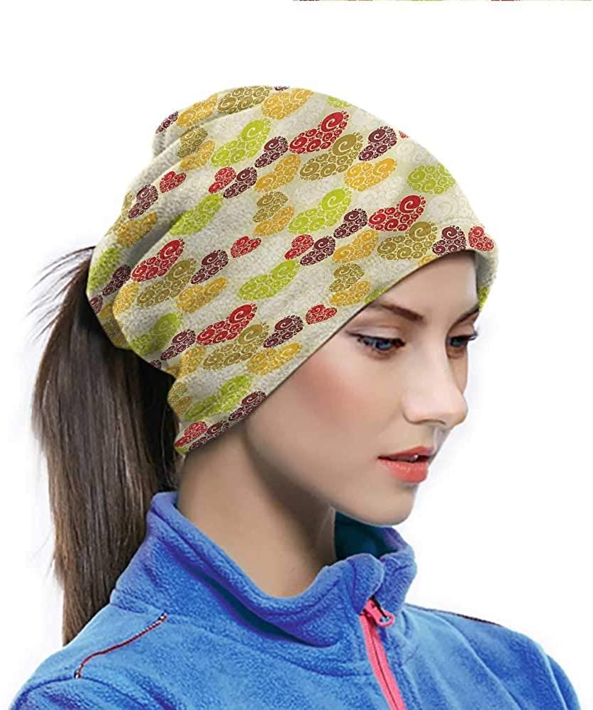 Balaclava Hearts, Colorful Swirls Curvy Shapes Multifunctional Sports-Headbands Design is Vibrant 10 x 11.6 Inch