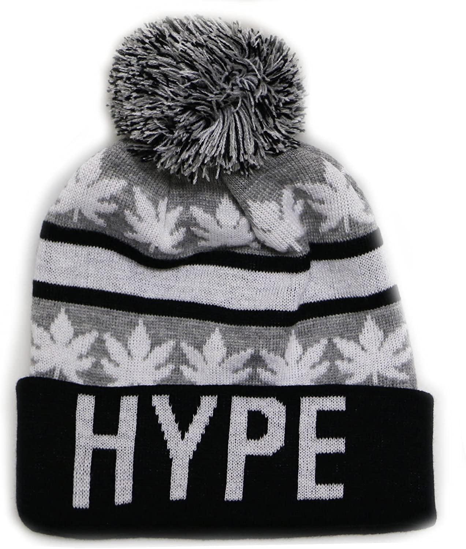 City Hunter Sk1161 Hype Leaves Pom Pom Beanie Hats - Light Grey/black