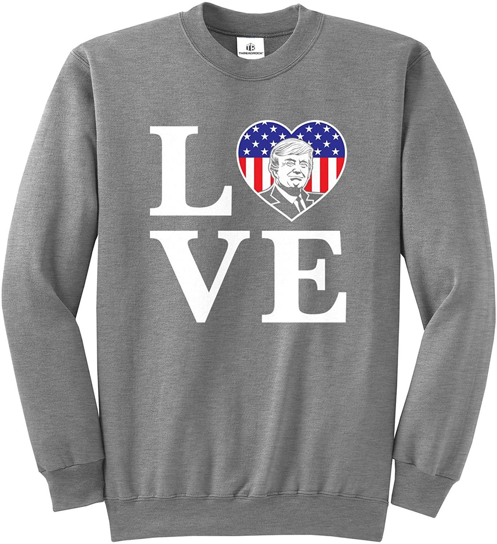 Threadrock Love Trump American Flag Heart (Stacked LO-VE) Unisex Sweatshirt - Large, Sport Gray