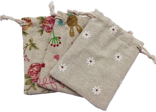 Printing Linen Bag Cotton String Gift Pouch 50pcs/Count (8x10cm)