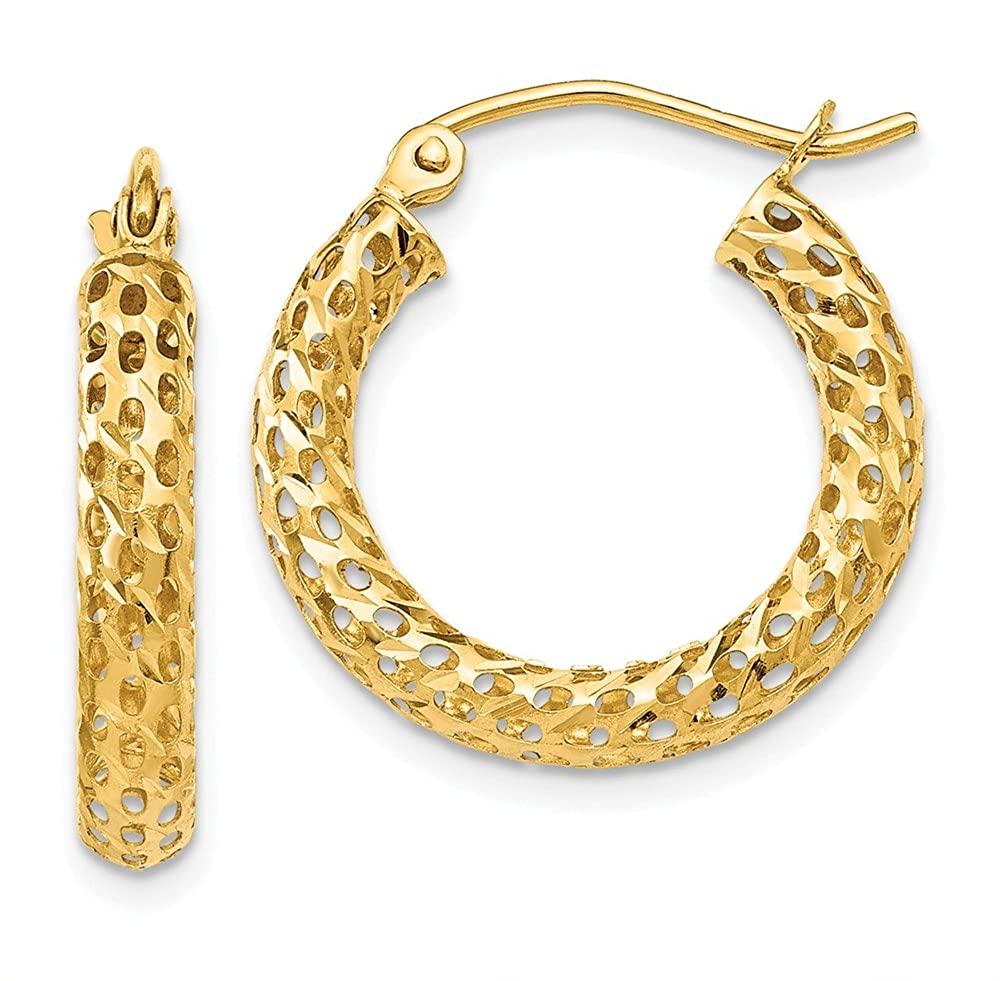 14K Yellow Gold Mesh Hoop Earrings TH515