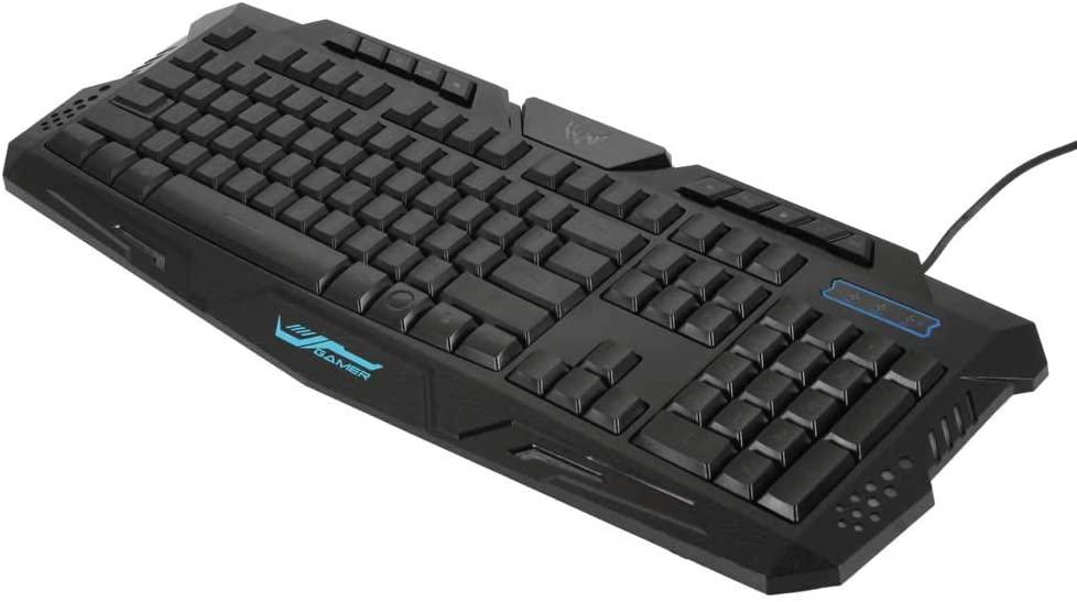Lorui A877 114-Key LED Backlit Wired USB Gaming Keyboard Black