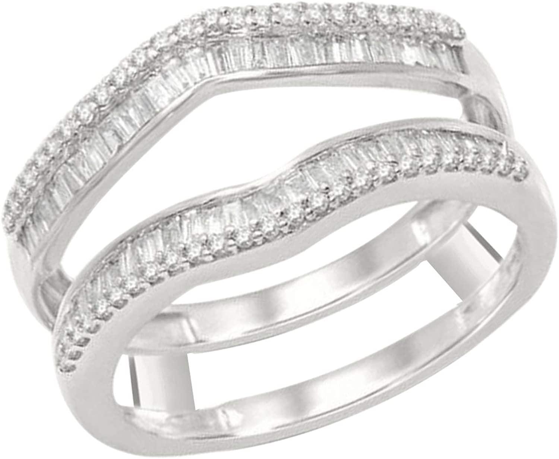 1/2 Ct Round & Baguette Shape Natural Diamond 14K White Gold Enhancer Wrap Guard Ring