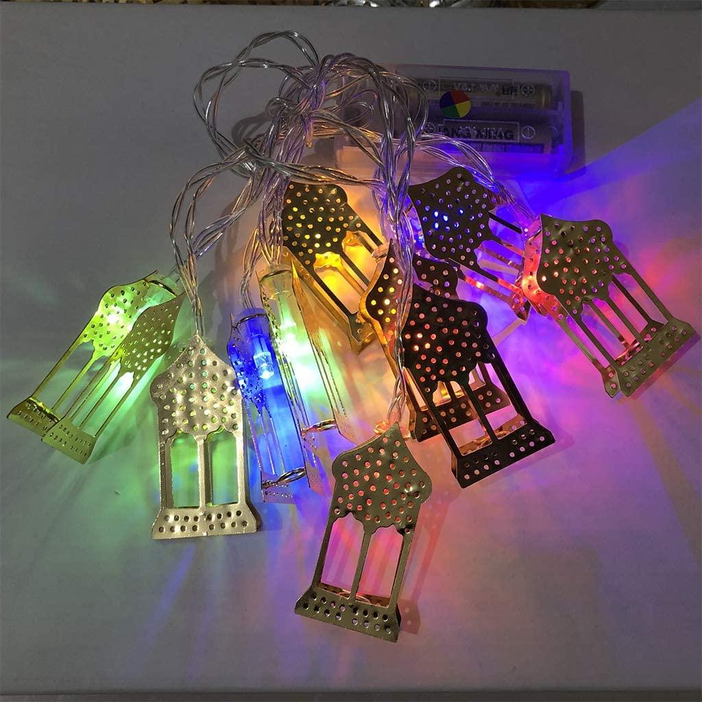 minansostey 1.65m10 Lights Golden Palace Eid Mubarak Decorative String Lights Ramadan Kareem Decoration Accessories Muslim Islam Party Supplies