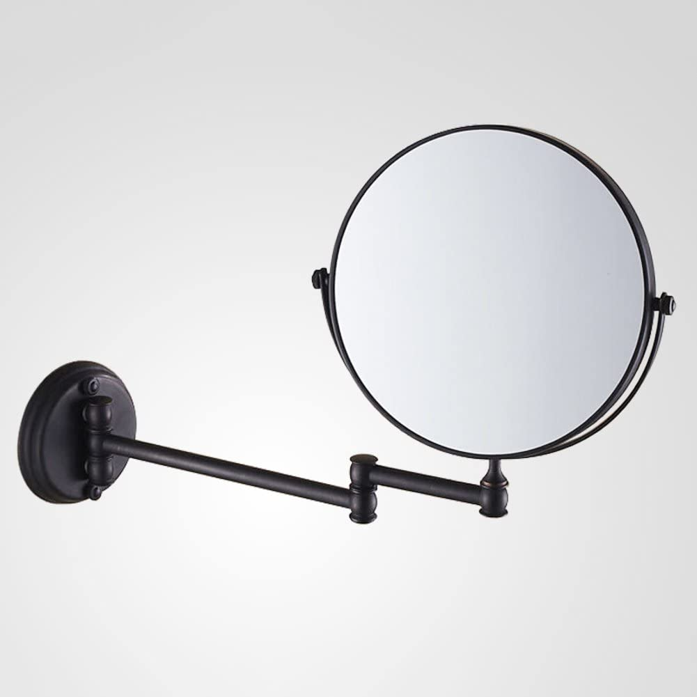 Extendable makeup mirror,Antique bathroom wall mount makeup mirror Folding mirror Toilet telescopic mirror Two-sided magnified mirror-B