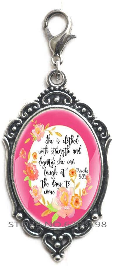 She is Clothed with Strength and Dignity Lobster Clasp Zipper Pull, Proverbs 31:25 Scripture Zipper Pull, Bible Verse Jewelry Gift for Daughter Lobster Clasp,N027