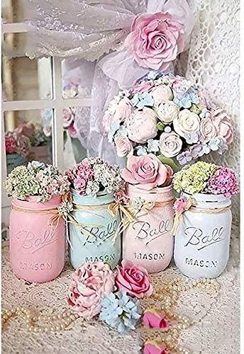 Fundaful Diamond Painting Kits for Adults, Full Drill Round Rhinestone Gouache Flowers Jar Picture DIY Art Craft Embroidery Corss Stitch for Home Decor (Mason Jar) (Mason Jar 2)